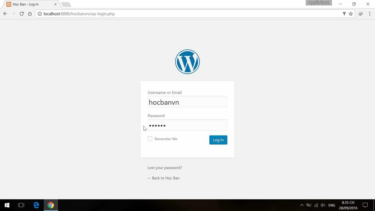 Đăng nhập vào website với tài khoản đã tạo
