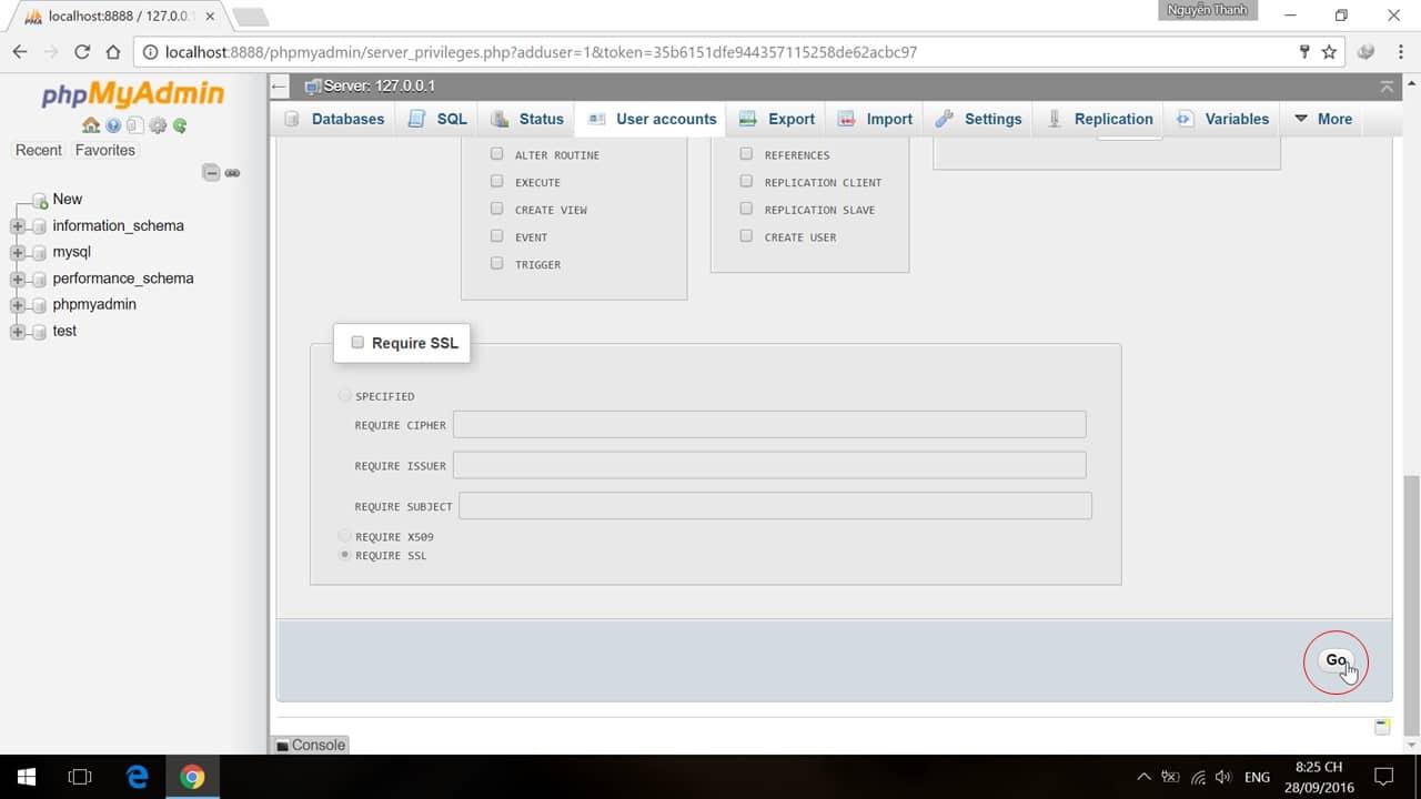 Hoàn tất tạo user và database trên phpMyAdmin