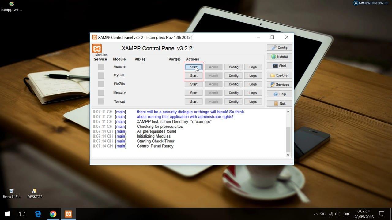 Khởi động hai module Apache và MySQL trên XAMPP