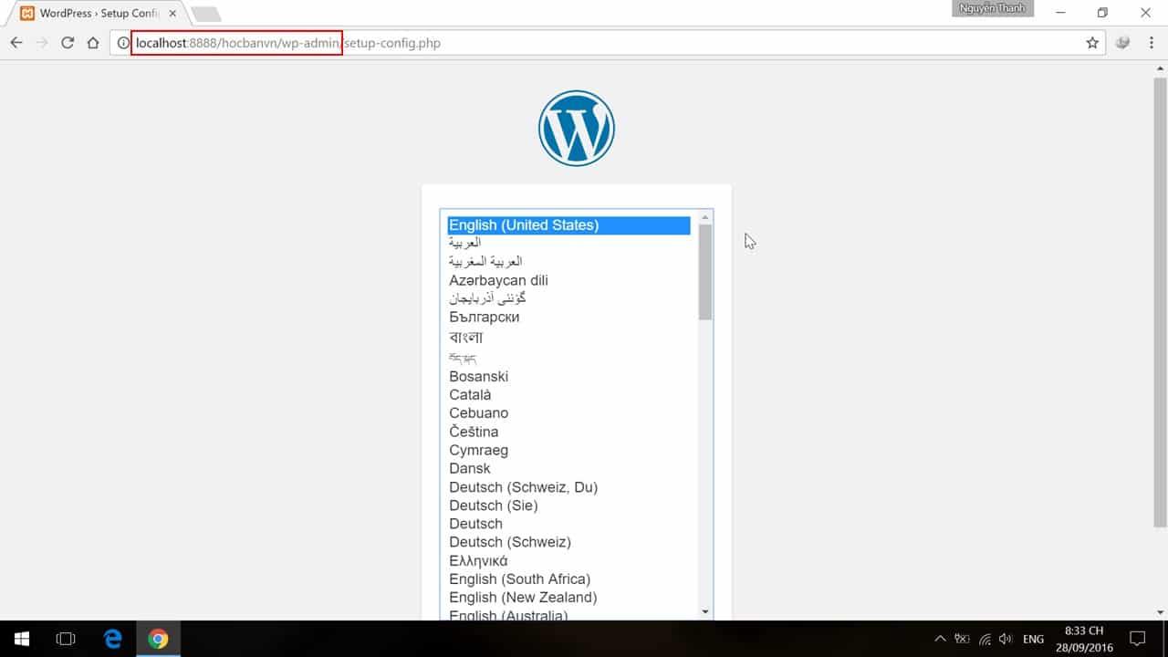 Lua chon ngon ngu va bat dau cai dat WordPress
