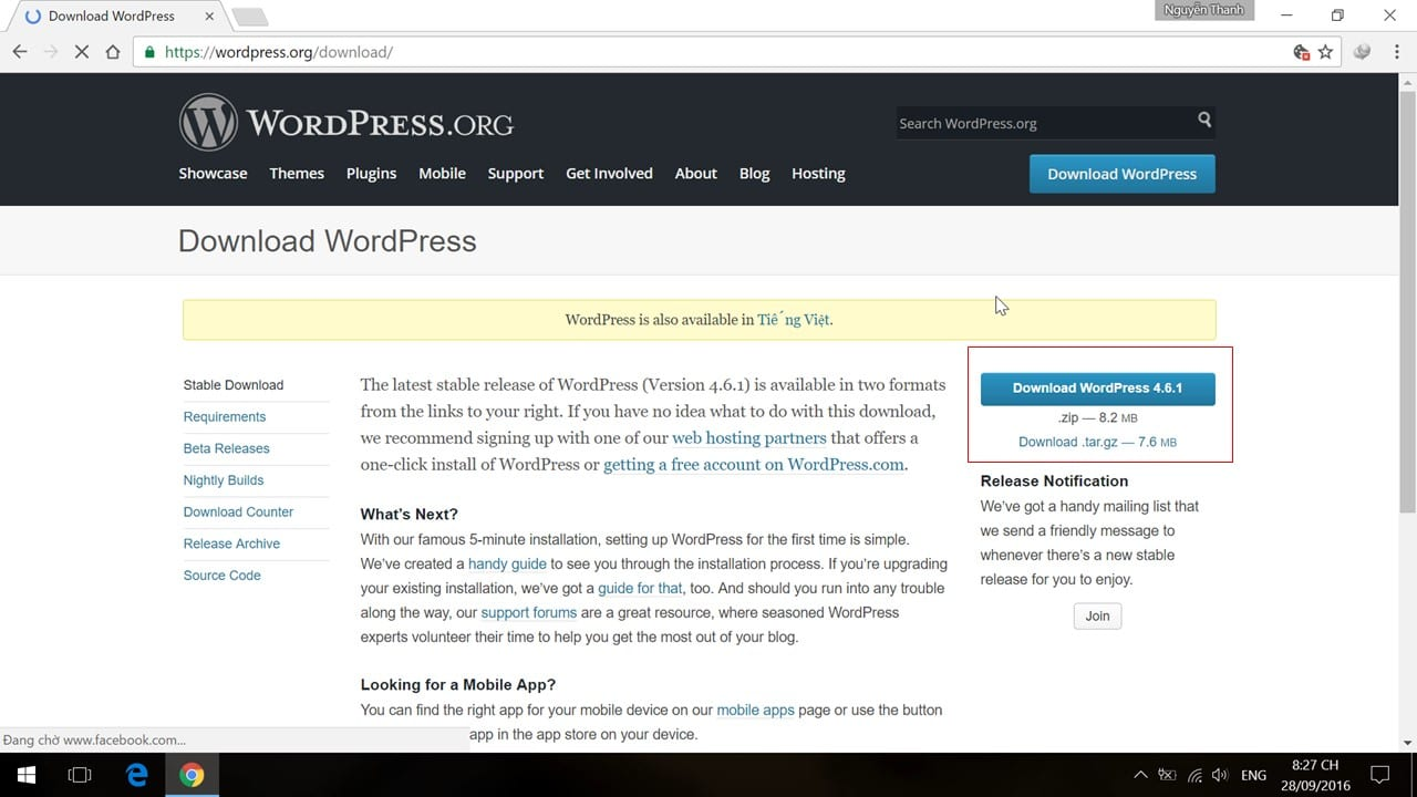 Tải về mã nguồn WordPress