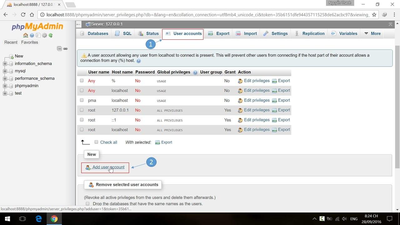 Tạo người dùng (user) và cơ sở dữ liệu MySQL Database