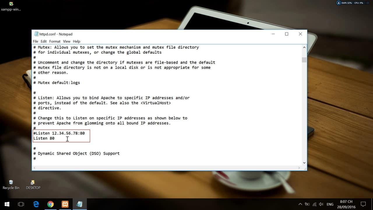 Thay đổi cổng mạng 80 trên XAMPP ở file file httpd.conf