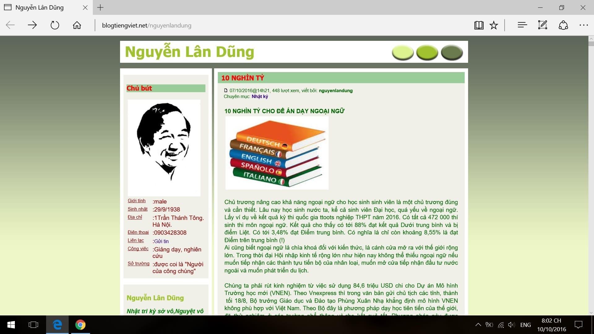 Trang blog ca nhan cua nha giao Nguyen Lan Dung