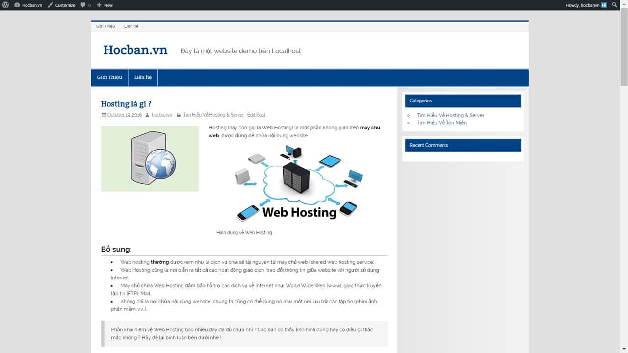 Hocban.vn (demo) sau khi them menu va xoa mot so widget