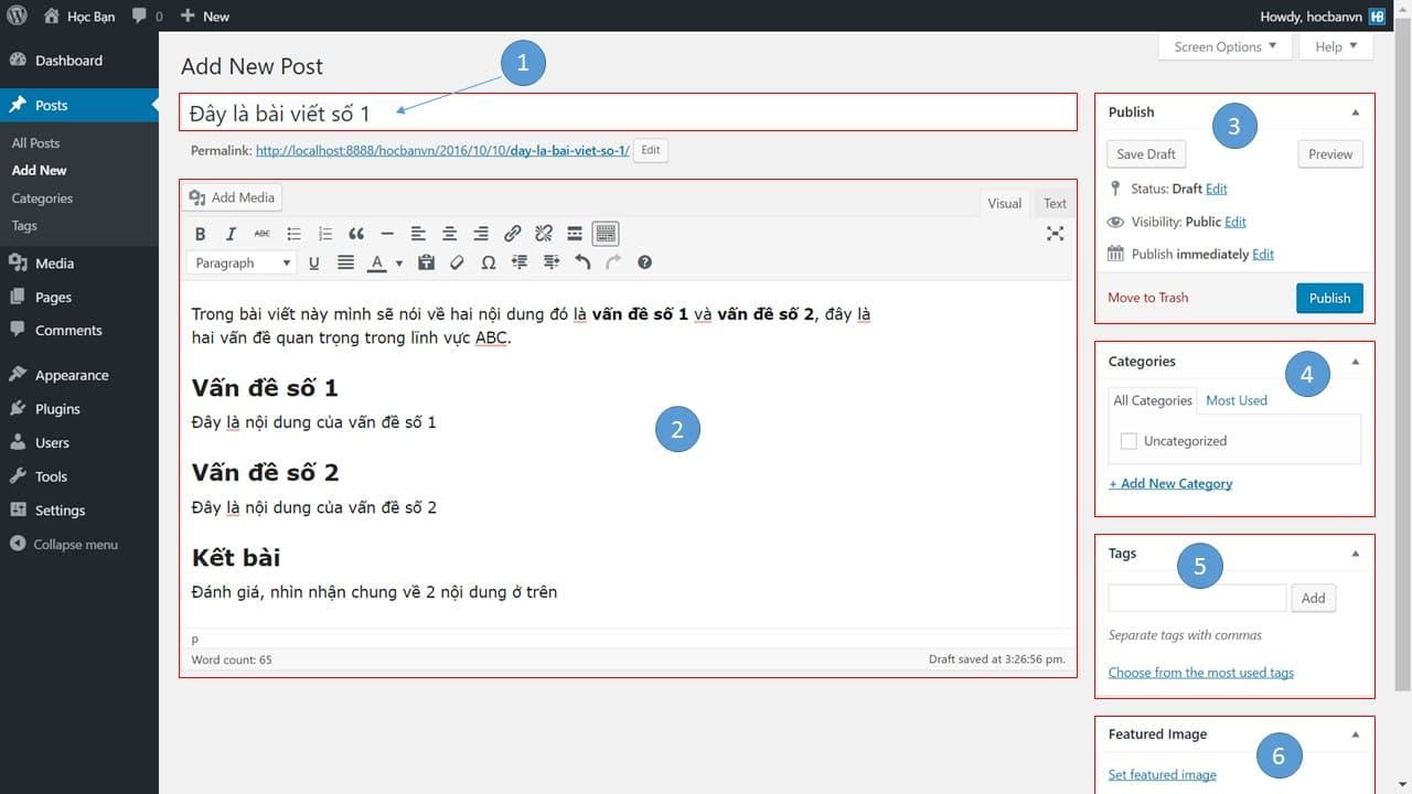 Khung soạn thảo và đăng bài trên WordPress