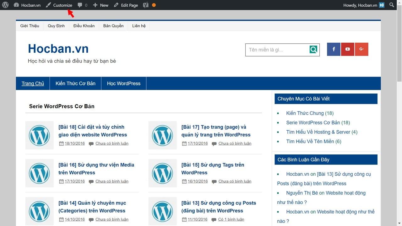 Mo cong cu customize tren WordPress