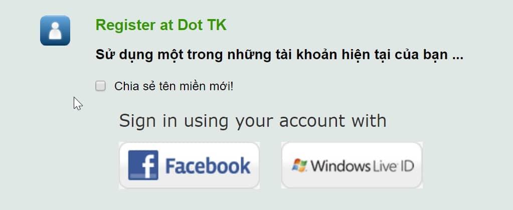 Chon dang ky voi tai khoan Facebook