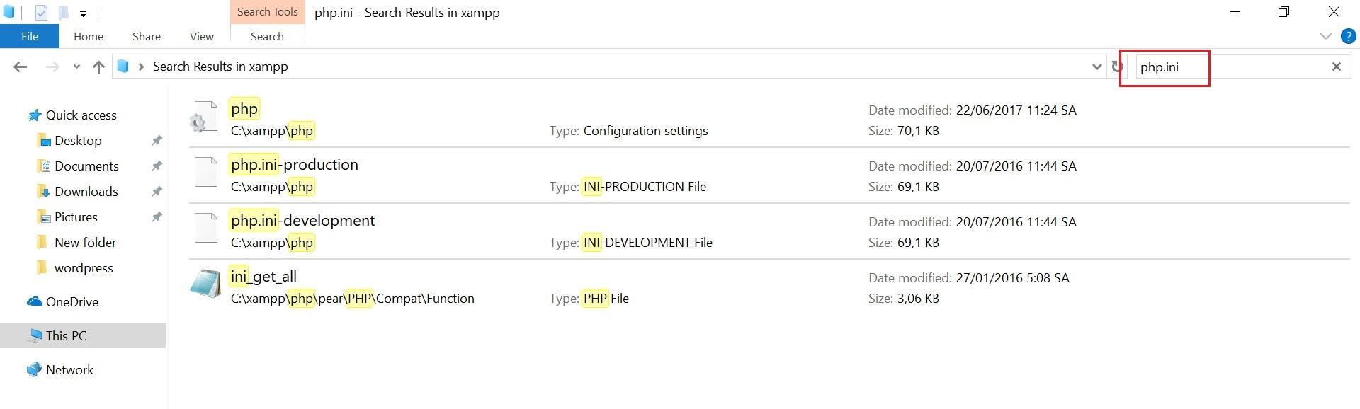 Tim kiem tap tin php.ini trong thu muc XAMPP
