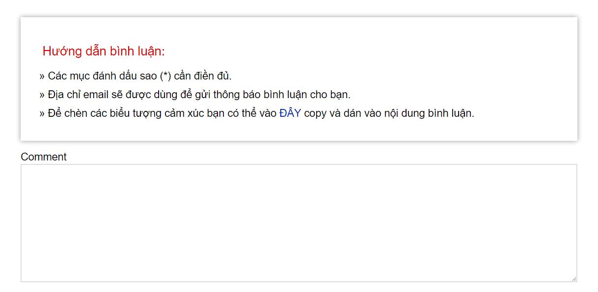 Them khung quy dinh hoac huong dan binh luan cho website WordPress