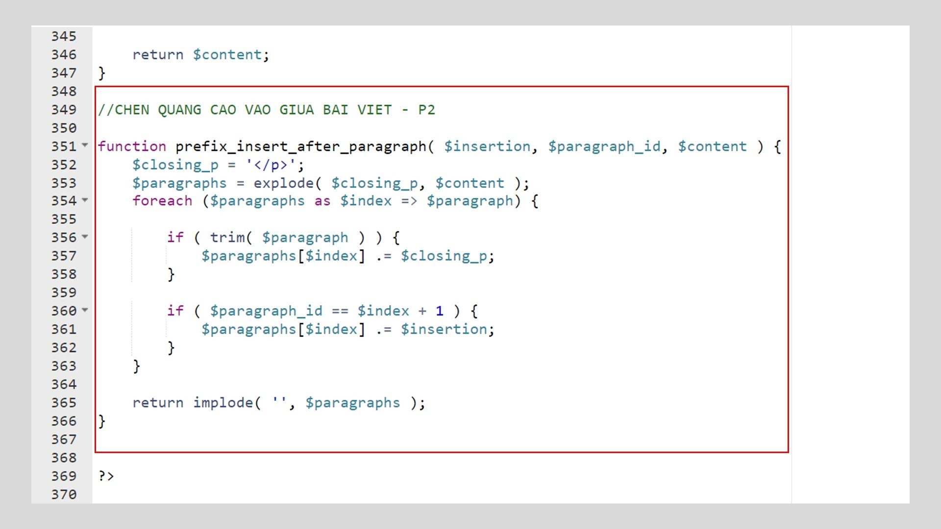 Vị trí chèn code trong file function