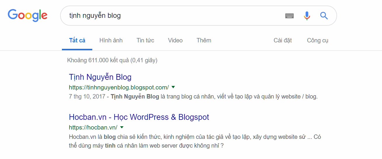 Vi du ve Google Rich Snippets