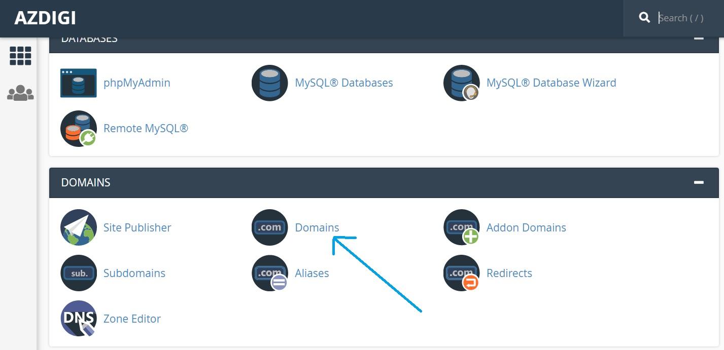 Truy cập mục Domains trong cPanel