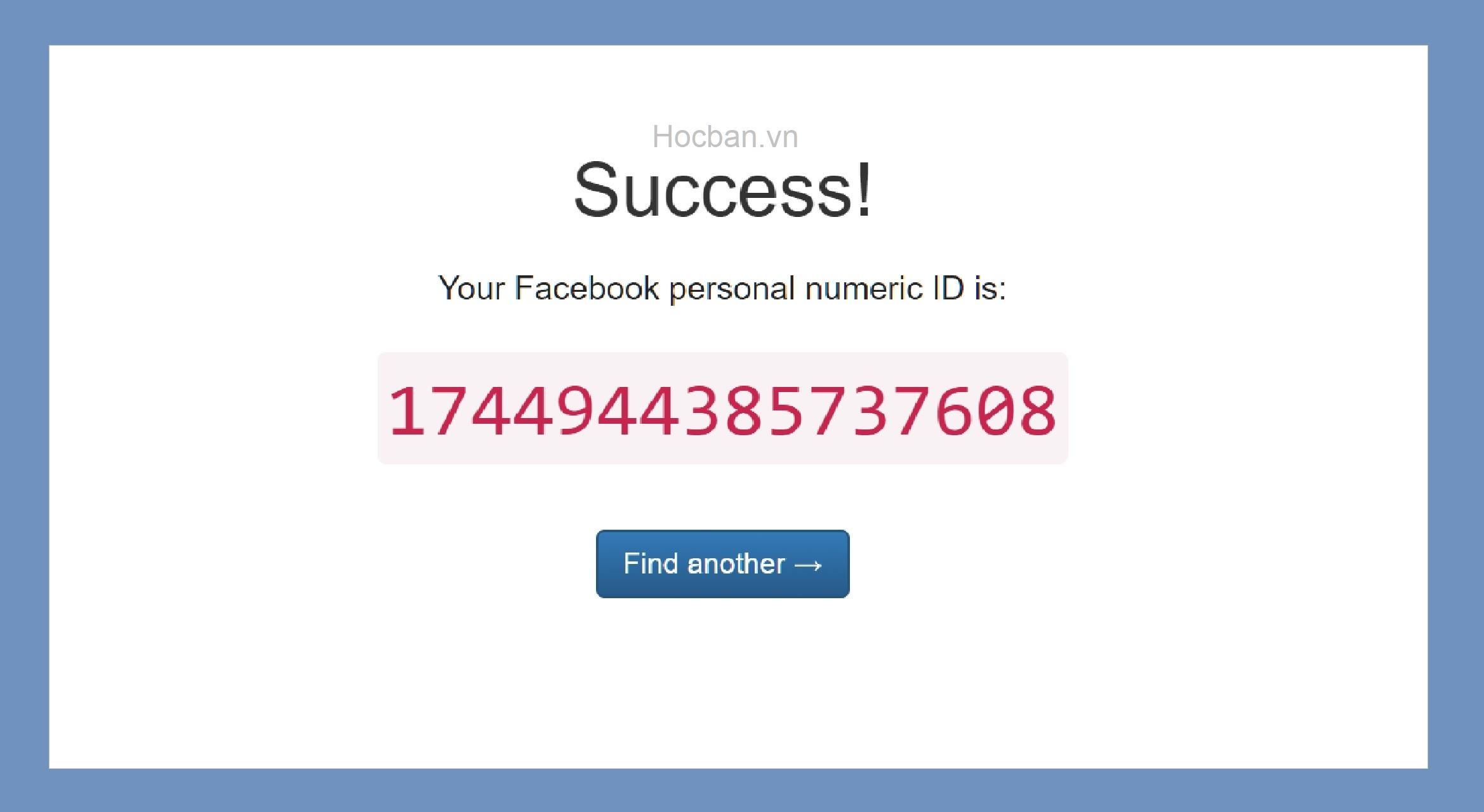 Ket qua tim ID Facebook Hocbanvn