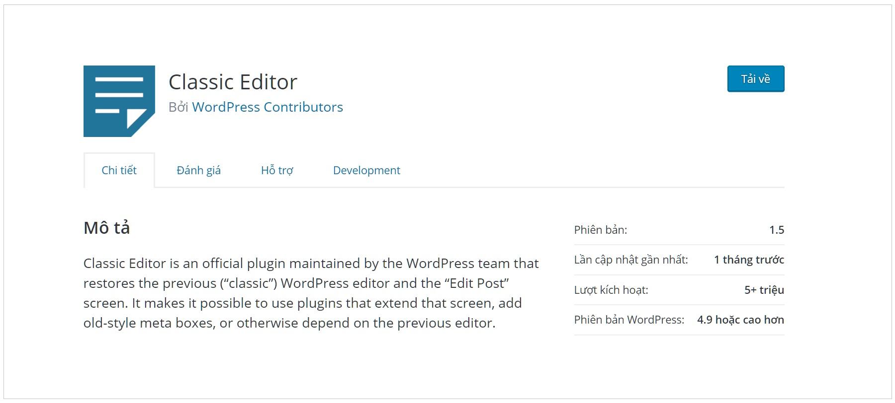 Plugin Classic Editor với hơn 5 triệu lượt tải về