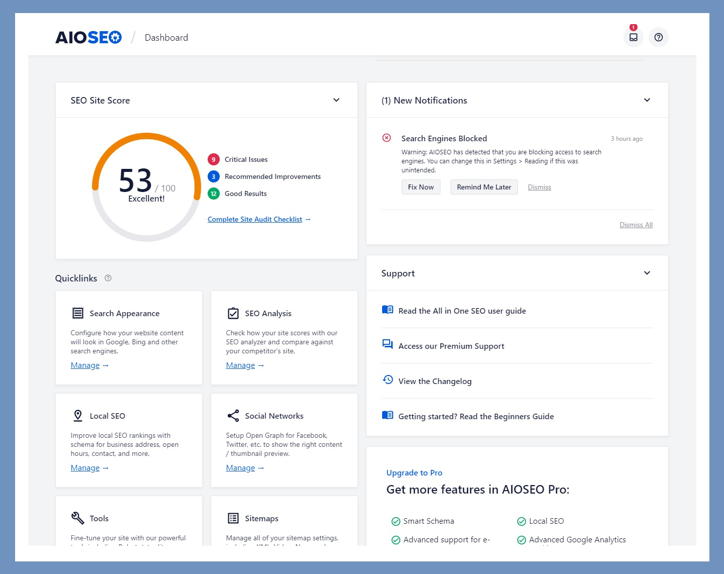 giao dien trang dashboard cua all in one seo