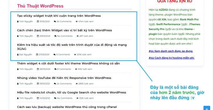 Sắp xếp bài viết theo ngày cập nhật trên WordPress